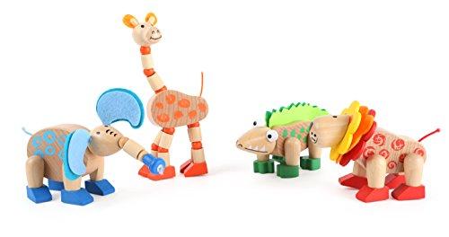 Small Foot 10689 Motorikspielzeug aus Holz, Elefant, Giraffe, Krokodil und Löwe mit beweglichen Gliedmaßen, mit Flizmaterial, ideal als Mitbringsel