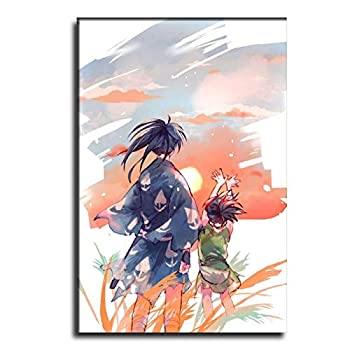 EURH Dororo-Hyakkimaru-and-Dororo-Watch-The-Sunset-Manga-Together Canvas Art Poster and Wall Art Picture Print Modern Family Bedroom Decor Posters 12×18inch 30×45cm