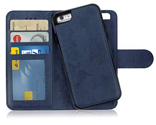 MyGadget Custodia Flip Cover 2in1 Magnetica per Apple iPhone 6 Plus / 6s Plus - Portafoglio Funzione Porta Carte Case Similpelle PU Removibile - Blu Scuro