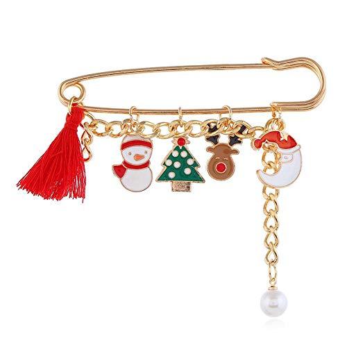 Broche de Navidad Pin Pin de columpio de metal Árbol de Navidad Papá Noel Muñeco de nieve Reno Jingle Bells Borla Abrigo Sombrero Decoraciones Joyería de Navidad Regalos para mujeres niñas