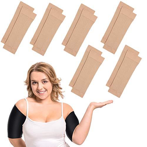 6 pares de mangas de brazo reductoras de compresión elástica del brazo, para mujeres y niñas, pérdida de peso (color nudo)