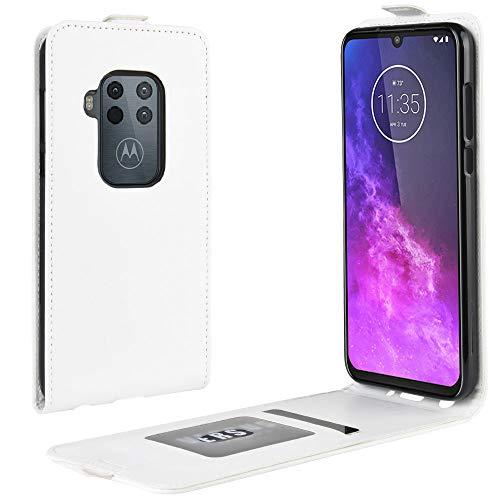 Zl One Compatível com/Substituição para Capa de telefone Motorola Moto One Zoom Couro Poliuretano Proteção Cartão Compartimentos Capa carteira Capa flip (Branco)