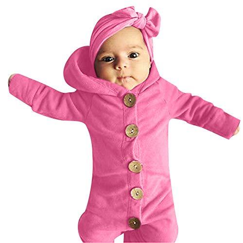 YanHoo Ropa para bebés Bebé Traje de Manga Larga con Capucha de Color sólido Traje de...