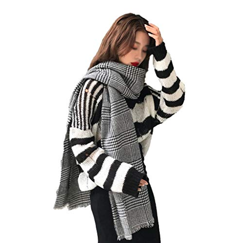 ZHIHUI Poncho Donne Sciarpa Donna Autunno Inverno Viaggio dello Scialle Coperta Calda Plaid dello Scialle Spesso Lattice Inverno Scialle Ultra Leggera (Color : Black)