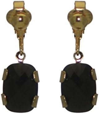 AOIBHEANN Gold Plated Jet Crystal Clip On Earrings