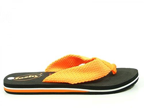 Fashy 7623 V-Strap Schuhe Damen Badepantoletten Zehentrenner, Schuhgröße:42;Farbe:Orange