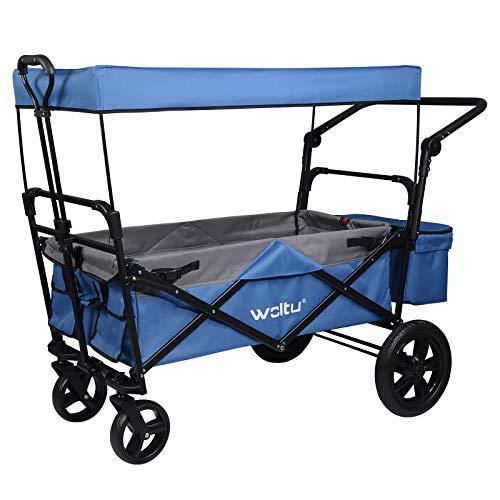 WOLTU® Bollerwagen faltbar mit Dach Handwagen Transportkarre Gerätewagen mit Bremse bis 80 kg belastbar für Kinder Camping Einkaufen Garten Blau TW016blg