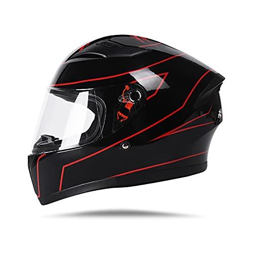 LIONCIANO Casco Moto Integral para Hombres y Mujeres Adultos, Casco De Moto Scooter con Visera, Que Protege La Seguridad Vial De Los Usuarios(Cártamo Negro Brillante, Lente Única)