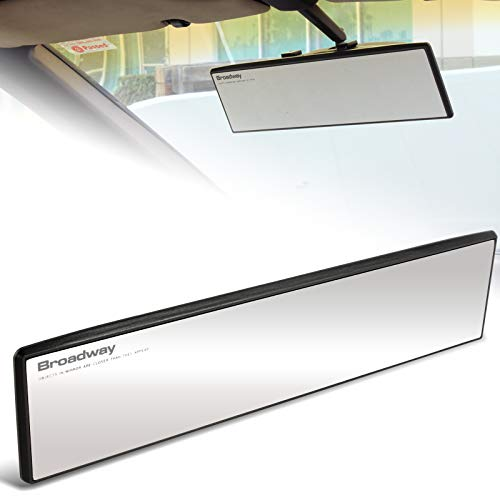 EPARTS Universal Broadway 300mm 12 Inch Clear Interior Flat Wide Angle Reduce Blind Spot Clip On Rear View Mirror