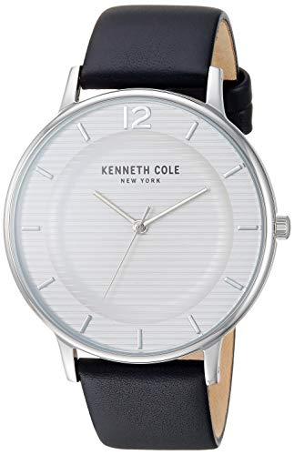 Kenneth Cole New York Reloj clásico para hombre de acero inoxidable con cuarzo japonés y correa de piel, color negro, 20 (Modelo: KC50912001)