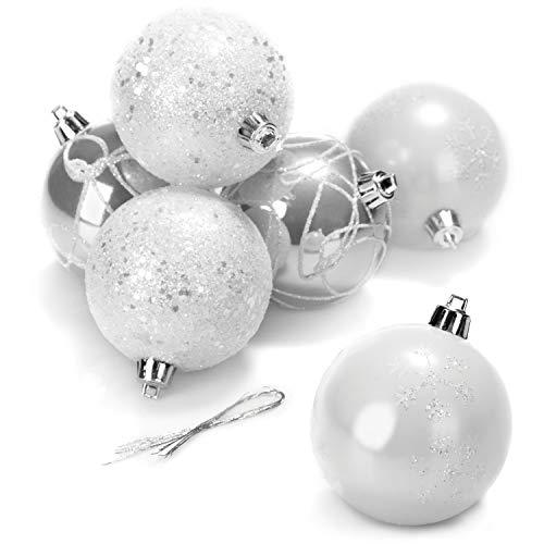 com-four® 6X Weihnachtskugeln, Christbaumkugeln aus bruchsicherem Kunststoff für Weihnachten, Baumschmuck für den Christbaum, Ø 8 cm (06 Stück - 8cm weiß/silberfarben)