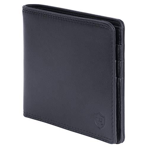 VON HEESEN Slim Wallet ohne Münzfach - 8 Fächer Kartenetui - Geldbeutel Männer mit RFID-Schutz - Made in Europe - Geldbörse Herren aus Nappa-Leder (Schwarz)