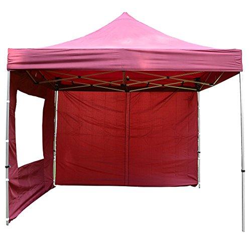 Nexos SM936153_SL01 Profi Faltpavillon Partyzelt Pavillon 3x3 m mit 4 Seitenteilen - hochwertige Ausführung - wasserdichtes Dach 270 g/m² + Tragetasche – Farbe: Burgund, Rot