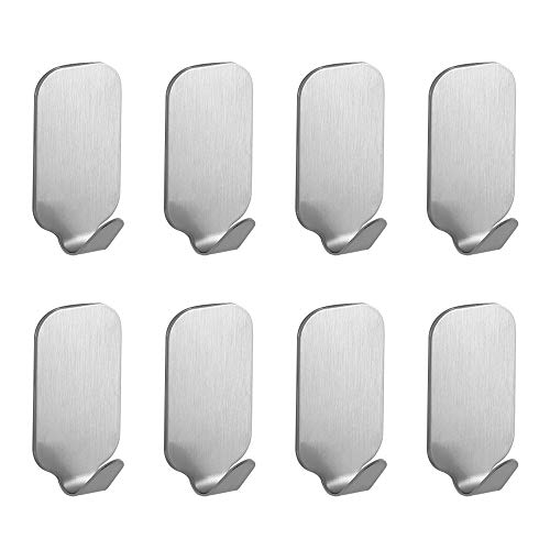 Self Adhesive Hooks for Hanging Heavy Duty Wall Hooks for Hanging Wall Hangers Without Nails Towel Hooks for Bathrooms 8 Pack