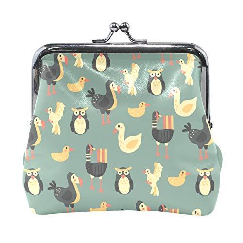 Dodo Duck Print Leather Coin Purse Mini Pouch Exquisite Buckle Change Purse Wallets Clutch Handbag