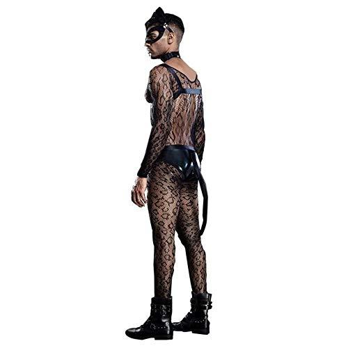 Sexy kat man kostuums cosplay outfit zien door mesh bodysuit exotische kleding kat masker sexy kostuums heren nachtclub wear, One Size