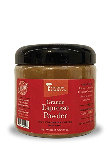 Civilized Coffee Grande Espresso Powder for Baking, Smoothies & Chocolate Non GMO, 100% Premium Coffee Bulk 6 oz