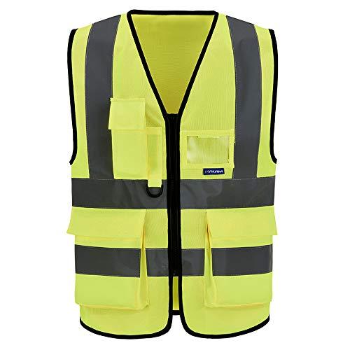 Chalecos de Seguridad Alta Visibilidad Trabajo Fluo (6XL-8XL, Amarillo)