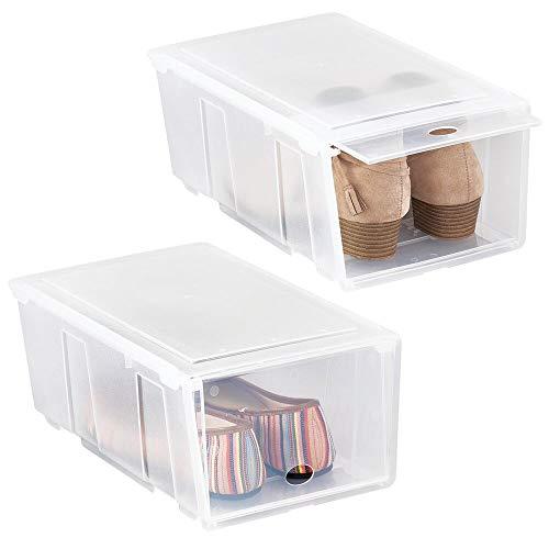 mDesign Juego de 2 cajas para zapatos pequeñas de plástico – Cajas apilables con tapa abatible – Prácticas cajas organizadoras para armarios o estanterías – transparente mate