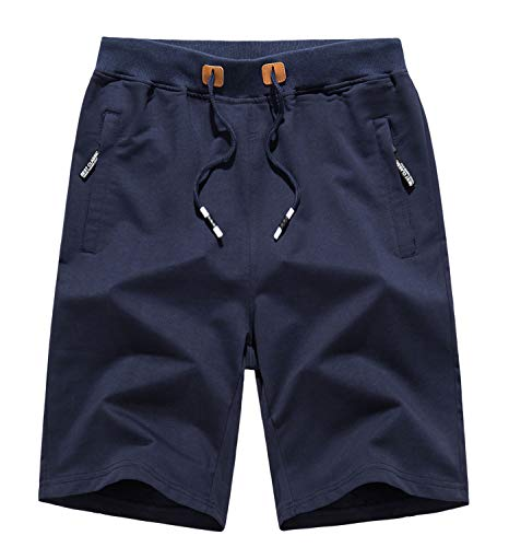 WOTHONPIS Mens Athletic Shorts Relaxed Fit Soccer Shorts Sports Shorts Training Shorts Breathable Comfy Shorts Pants with Zipper Pockets