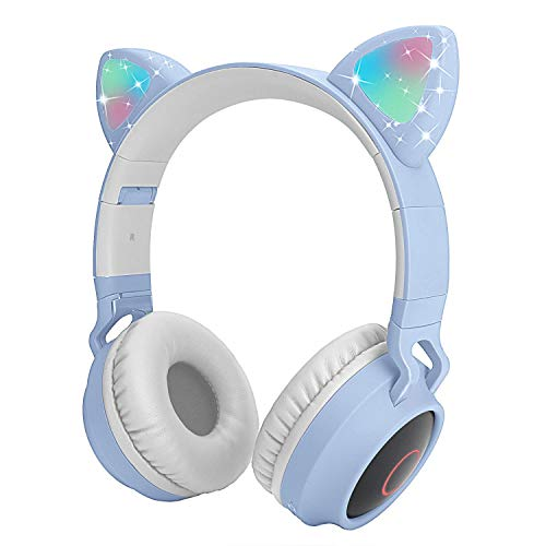 Auriculares Bluetooth para niños Auriculares inalámbricos de Oreja de Gato con luz LED Intermitente (Azul Claro)