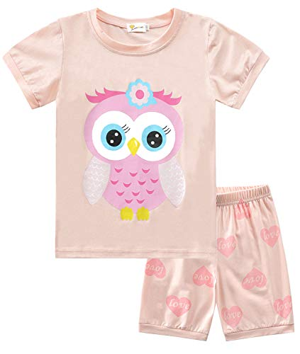 Little Hand Mädchen Schlafanzug Kurz Girls Pyjamas Shorts Eule Kinder Sommer Schlafanzug Sets 98 Orange