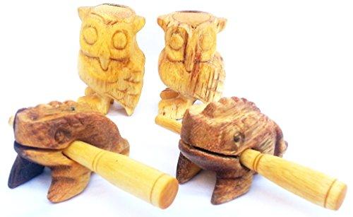 guiro rana guiro animali musicali strumento giochi musicale legno motori educative edicola per bambine adulti giochi di legno guiro rana ' Rane 2 pezzis a 4 cm+Gufi 2 pezzis a 5 cm '