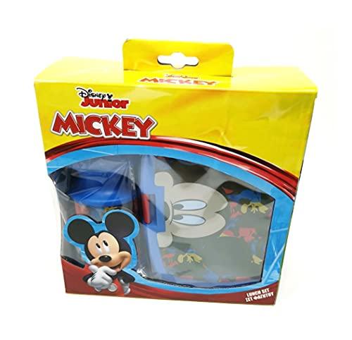 Theonoi Juego de 2 fiambreras para niños / fiambrera / fiambrera / fiambrera + botella, idea de regalo (Mickey Mouse)