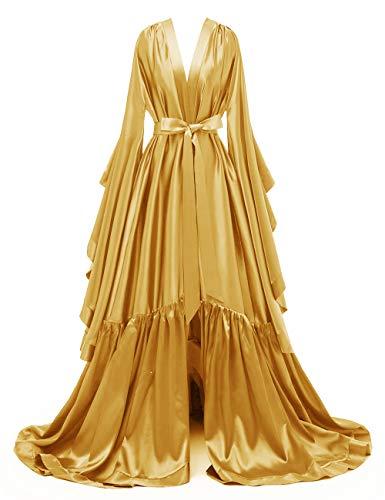 yinyyinhs Damen Lang Braut Robe Tüll Getrimmt Brautjungfer Hochzeit Bachelorette Party Nachthemd Bademantel Gold Size XXL