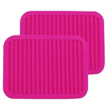 ME.FAN 9  x 12  Big Silicone Trivets - Multi-purpose Silicone Pot Holders, Spoon Rest and Kitchen Table Mat - Insulated, Flexible, Durable, Non Slip Hot Pads and Coasters (2 Set) Rose Red