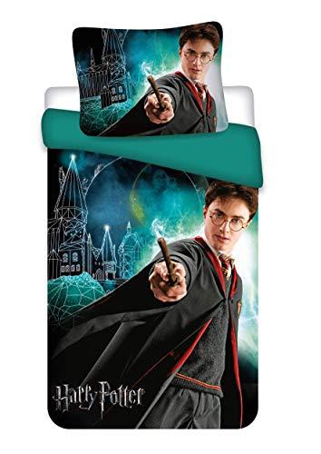 BrandMac Harry Potter Bettwäsche 200 x 135, 80 x 80, leuchtet im Dunkeln-Effekt, 100% Baumwolle, Glow in The Dark