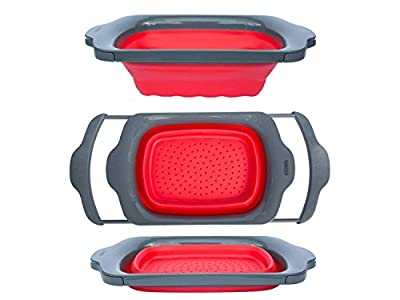 Comfify Colander Collapsible, Over the Sink Colander with Handles, Folding Strainer for Kitchen, Capacity of 6 quart, Red/Grey from Comfify