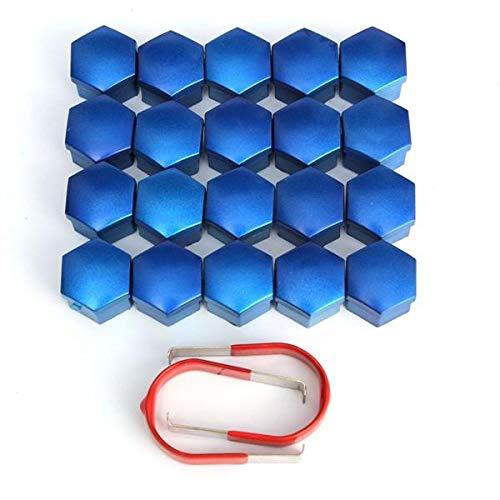 DFYYQ 17mm Coche ABS aleación Tapacubos Tuerca de plástico Azul Caps Tornillos Tuercas Cubiertas Conjunto de 20