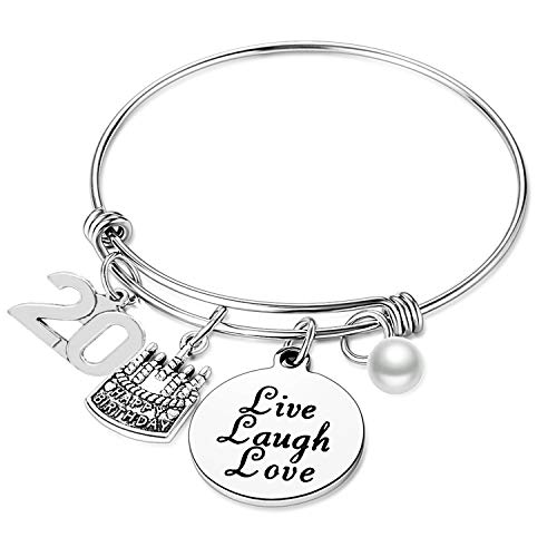 Birthday Gifts for Her Expandable Bangle Birthday Bracelets For Women Charm Bracelet Happy Birthday Jewelry Gift Ideas (20th Birthday)