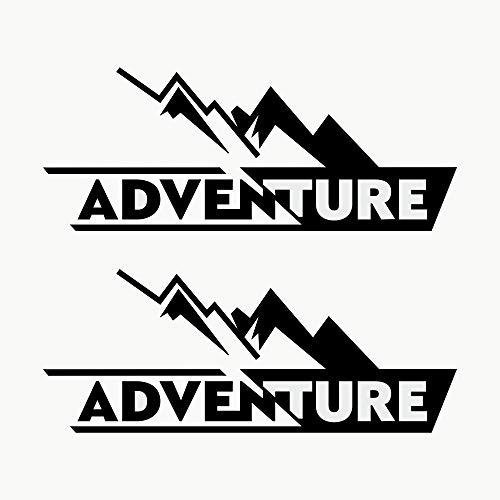 Autodomy Pegatinas Adventure 4x4 Off Road Todoterreno Sport Maletas Moto Cofre Trail Pack 2 Unidades para Coche o Moto (Negro)
