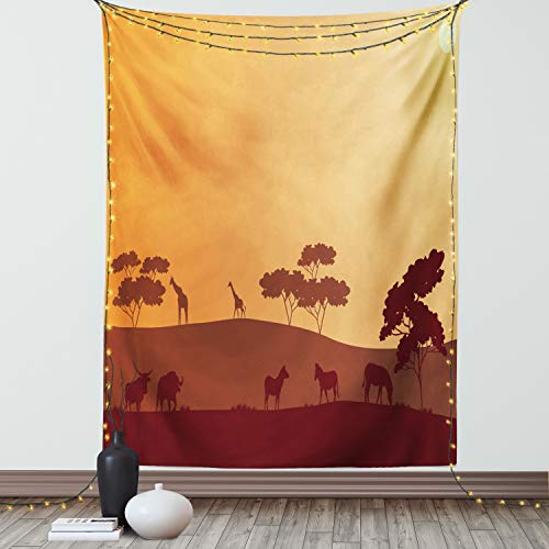 Lunarable Bison Tapisserie, Doppelgröße, Sonnenuntergang, Safari-Silhouette von Zebra, Giraffe auf Hügeln, Savannah-Landschaft, Wandbehang, Tagesdecke, Wanddekoration, 172,7 x 223,5 cm, Aprikosenbraun