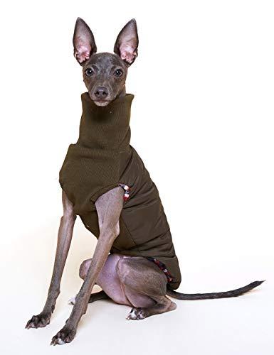 HD2DOG Hundemantelweste, Windundurchlässiges Kleidungs Langen Jacke des Kragens des Ärmellosen Herbstwinters Warmes Für Windhund -XTM188,Grün,Medium