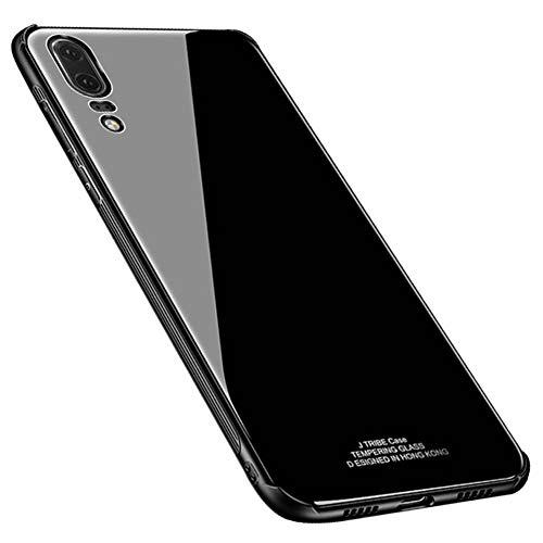 Kepuch Quartz Hülle für Huawei P20 - Weiches TPU + Rückseite Aus Gehärtetem Glas Hüllen Hülle für Huawei P20 - Schwarz