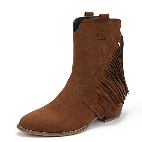 LYYJF Botas de mujer con flecos y cremallera lateral punta redonda botas de tacón grueso, marrón, 36 EU