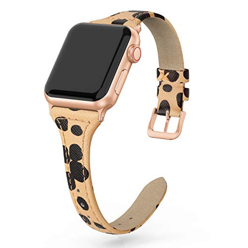 SWEES Leather Band Compatible for iWatch 38mm 40mm, Slim Thin Dressy Elegant Genuine Leather Strap Compatible iWatch Series 5 Series 4 Series 3 Series 2 Series 1 Sport Edition Women, Cheetah Dots