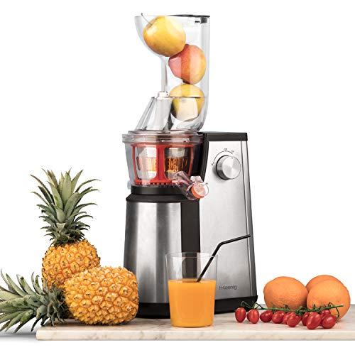 Extracteur de Jus de Fruits et Légumes vertical GSX22 H.Koenig - Centrifugeuse Vitamin + sans BPA - 82 mm Large Bouche - 3 tamis pour jus fin ou épais et sorbet - pression douce 60 tours 400 W