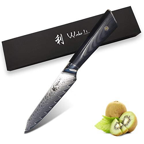 Wakoli FEZA Damastmesser Allzweckmesser 12,50 cm Klinge extrem scharf aus 67 Lagen I Damast Küchenmesser und Profi Kochmesser aus echtem Damaststahl mit G10 Griff