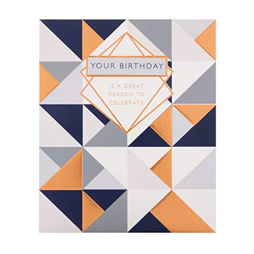 Algemene verjaardagskaart van keurmerk - geometrisch verijdeld ontwerp met 3D-tag