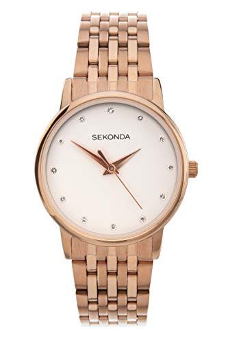 Sekonda 2435 - Orologio analogico al quarzo, da donna, con cinturino in oro rosa e quadrante bianco