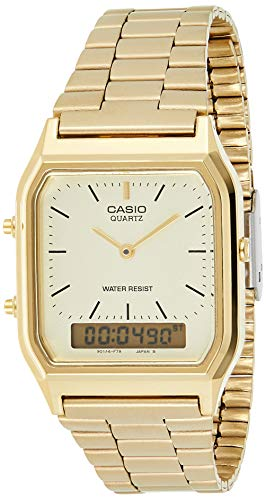 Casio Collection AQ-230GA-9DMQYES, Reloj Cuadrado, Unisex, Acero Inoxidable, Oro (Amarillo)