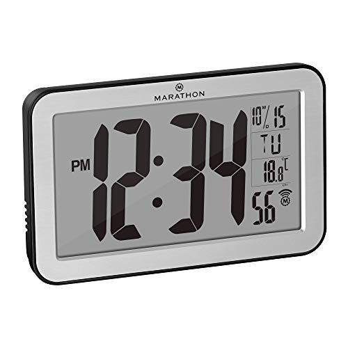 Marathon Commercial Grade Panoramic Autoset Atomic Digital Wall Clock with Table or Desk Stand, Date, and Temperature, 8 Time Zone, Auto DST, Self Setting, Self Adjusting, Batteries Included (Silver)