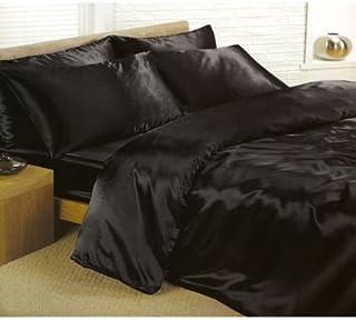 Negro satinado Tamaño Super King funda de edredón y almohada y sábana bajera