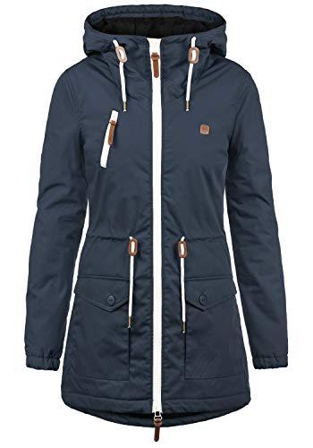 DESIRES Tilonga Damen Übergangsparka Parka Übergangsjacke Lange Jacke mit Kapuze, Größe:L, Farbe:Insignia Blue (1991)