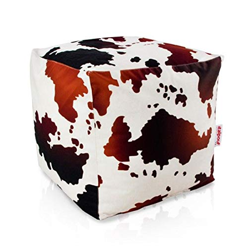 Italpouf - Puf grande con forma de cubo (50 x 50 x 50 cm) Puf de 26 diseños diferentes. Puff desenfundable. Puf de tela suave. Reposapiés acolchado.