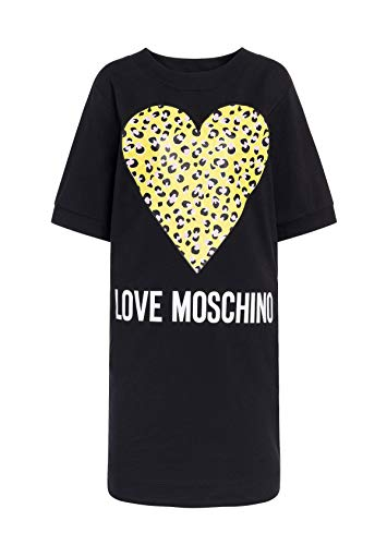 Love Moschino Dress_Animalier Printed Heart And Logo Vestito, Nero (Black C74), 42 Donna